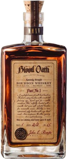 """Do ya know what a blood oath is, Mr.good cuz ya just took one"" (in my best Sean Connery accent) Blood Oath Kentucky Straight Bourbon Whiskey Good Whiskey, Cigars And Whiskey, Whiskey Drinks, Scotch Whiskey, Bourbon Whiskey, Whiskey Bottle, Vodka, Alcoholic Drinks, Cocktails"