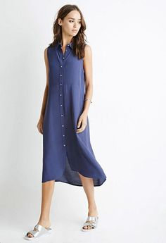 Shop Women's Forever 21 Blue size S Midi at a discounted price at Poshmark. Description: Forever 21 button down midi dress. Never been worn. Below The Knee Dresses, Navy Blue Midi Dress, Forever 21, Weekend Dresses, Leggings, Overall Dress, Blouse Styles, Dress Making, Dresses For Work