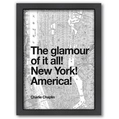 Americanflat ''The Glamour of it All! New York! America!'' Framed Wall... ($115) ❤ liked on Polyvore featuring home, home decor, wall art, new york wall art, vertical wall art, framed wall art, new york home decor and ny wall art