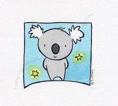Tiny Koala with Two Stars  - Original Watercolor