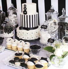 Black and White Chic Dessert Table by Life is Sweet Candy Buffets