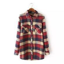 2016 nova primavera chegada moda feminina Plus Size camisas xadrez de manga comprida, Feminino Casual outono e inverno flanela blusas Tops(China (Mainland))