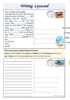 Writing a postcard worksheet – Free ESL worksheets created by teachers - Holiday Plan Reading Comprehension Worksheets, Writing Worksheets, Printable Worksheets, Esl Lessons, English Lessons, Learn English, English Writing Skills, Essay Writing, Teaching English