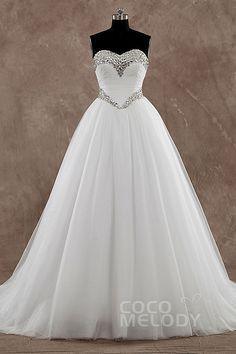 Süßes+Prinzessinen-Hochzeitskleid+aus+Tüll+in+Elfenbein+mit+Herzausschnitt+Pinselschleppe+und+Kristallen+Ärmellos+LD3571