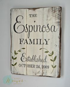 Family Established Sign with Leaves (customizable) - Aimee Weaver Designs, LLC