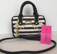 Betsey Johnson NWT MINI Barrel Crossbody Hand Bag Flowers Black And White #BetseyJohnson #MessengerCrossBody
