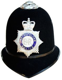 """""""Bobbies"""" throughout British territory have been wearing this style helmet since 1863. Bobbie's get their name from Sir Robert Peel who founded the Metropolitan ( London ) police force in 1829"""