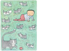 'Cats', limited edition print by Alison Lester.  From picture book 'Kissed by the Moon' (Penguin Books).   Available at Books Illustrated.