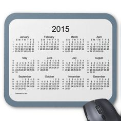 52 Weeks 2015 Calendar by Janz Slate Gray Mousepad