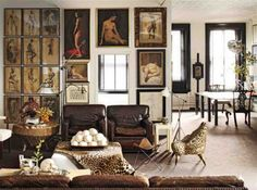 2013 Minimalis Modern Apartment Design Wanderlust Pillow Cover Living Room William Frawley's Soho Apartment - ELLE DECOR--loving the ostrich. Elle Decor, Decoration Inspiration, Design Inspiration, Design Ideas, Design Design, Decor Ideas, Chair Design, Soho Apartment, Manhattan Apartment