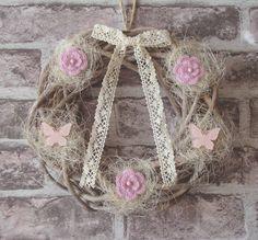 Romantic wreath: roses and butterflies. Butterflies, Burlap, Roses, Reusable Tote Bags, Romantic, Wreaths, Hessian Fabric, Pink, Door Wreaths