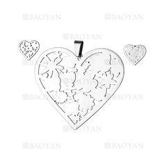 juego colgante y aretes de corazon moda especial en acero plateado inoxidable -SSSTG184138
