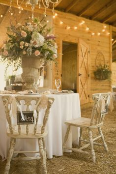 rustic country classic motif at wedding reception ~ love the shabby chairs! Rustic Wedding, Wedding Reception, Wedding Tables, Chic Wedding, Wedding Bells, Wedding Wishes, Wedding Flowers, Mesas Shabby Chic, Barn Parties