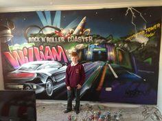 children / teen / Kids Bedroom Graffiti mural - #handpainted #graffiti #featurewall #design #graffitibedroom #interior #design #cars #towerofterror #universal #usa