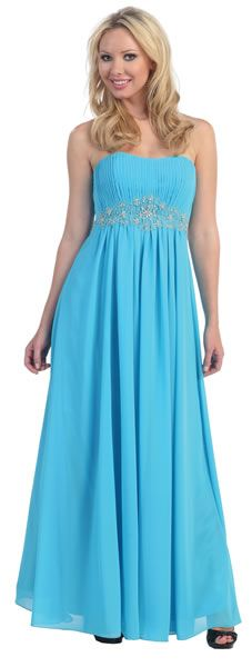 Glamour Plus L5325W Plus Size Wide Waist Affordable Evening Dress. Featuring the bead-rhinestone accent empire waist ruching the straight neck top and long chiffon skirt dress. Chat with us at http://messenger.providesupport.com/messenger/therosedress.html?ps_s=4bE8rspYpohy