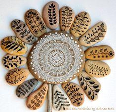Mini pebbles with white ink on natural stone #mandala https://www.facebook.com/ISassiDelladriatico: