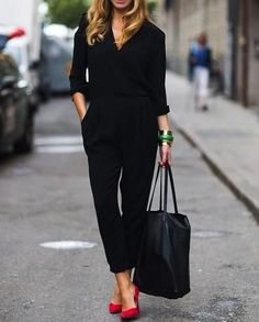 fashion, black outfits, jumpsuit, color, red shoes