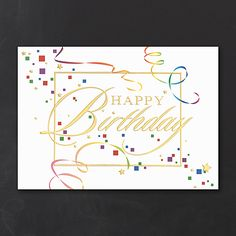 Streamers And Confetti Business Birthday Cards Custom Printed Partyblockinvitationsoccasions