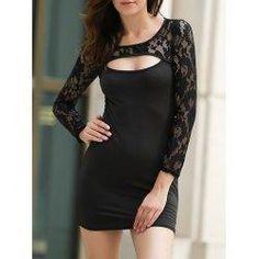 #trendsgal.com - #Trendsgal Round Neck Long Sleeve Lace Spliced Hollow Out Dress - AdoreWe.com