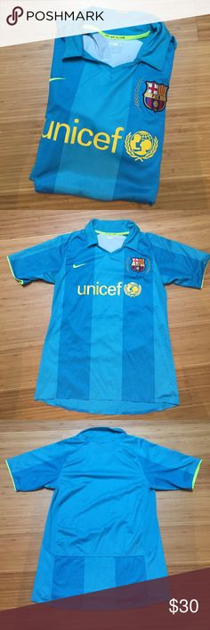 Blue FC Barcelona jersey Authentic FC Barcelona blue jersey. Men's medium but can fit oversized on women. Perfect condition. Nike Other