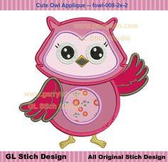 Owl applique, red owl, girl kids owl, machine embroidery applique design, speaking, ditital owl pattern, 3 sizes, owl-008-2e-2