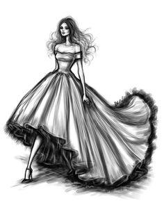 Fashion dress sketches black and white.