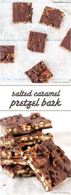 Salted Caramel Pretzel Bark Recipe Salted Caramel Pretzel Bark - Easy to make salted caramel pretzel bark that is the perfect decadent treat or gift for Christmas. This stuff is just incredible - sweet, salty, perfect. Brownie Desserts, Just Desserts, Delicious Desserts, Desserts Caramel, Delicious Chocolate, Candy Recipes, Baking Recipes, Baking Ideas, Baking Desserts