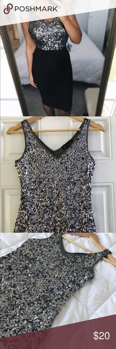 Sparkly Shiny Silver EXPRESS Top Size S Perfect for NYE and holiday parties! Originally bought as Dress from EXPRESS. Turned into top for NYE last year. Worn once. EUC. Size small. Express Tops