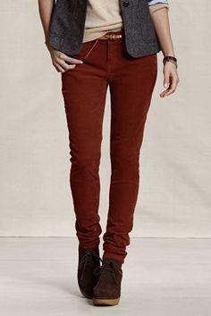 OMG those pants!- Lands' End Canvas  Women's Slim Fit Cords in Dark Autumn Orange  Item # 40586-1XP5