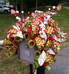 christmas deco mesh mailbox cover wwwcountrychicscreationscom christmas mailbox decorations mailbox - Christmas Mailbox Decorations Ideas