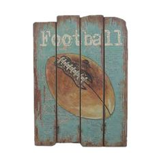 Distressed wood wall decor with a football design.Product: Wall décorConstruction Material: WoodFeatures:...