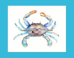 Blue Crab Watercolor-8 X 10 print Sea Life by Marysflowergarden