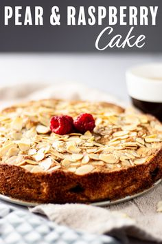 This pear and raspberry cake is the perfect balance of sweet and tart. Soft, tasty pears with a burst of raspberry flavor, then topped with a layer of sliced almonds that gets toasty in the oven. This is the best cake-with-coffee breakfast cake. #pearandraspberrycake #raspberryandpearcake #breakfastcake Homemade Cake Recipes, Best Dessert Recipes, Cupcake Recipes, Healthy Desserts, Easy Desserts, Delicious Desserts, Cupcake Cakes, Snack Recipes, Grilled Desserts