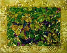 Elisabetta Trevisan - blackbirds...blackberries.  Tempera and watersoluble pencils on mdf.  Self made frame of papier mache.  Spectacular.