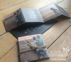 Trouwkaart zelf ontwerpen, harmonica, strand, krijtbord japanse envelop, fotokaart. DIY wedding invitation beach, chalkboard. www.aagjeontwerp.nl