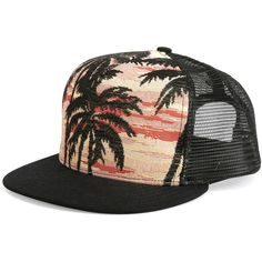 3fd87f710e60b6 Saint Laurent Palm Tree Printed Flat-Bill Hat ($290) ❤ liked on Polyvore  featuring men's fashion, men's accessories, men's hats, multi, mens caps  and hats ...