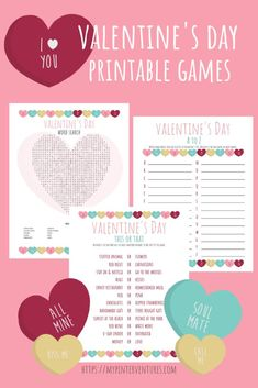Free Valentine's Day Games. Valentine's Day word search, A to Z, and This or That printable games. #games #printablegames #valentinesday #valentinesdaygames Valentines Day Words, Vintage Valentines, Valentine Day Crafts, Valentine Decorations, Rainy Day Games, Valentine's Day Printables, Types Of Craft, Note Cards, Party Planning