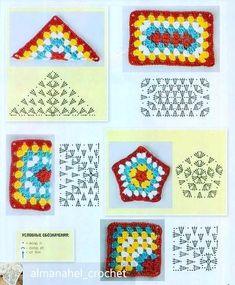 Transcendent Crochet a Solid Granny Square Ideas. Inconceivable Crochet a Solid Granny Square Ideas. Crochet Motifs, Crochet Blocks, Granny Square Crochet Pattern, Crochet Flower Patterns, Crochet Diagram, Crochet Chart, Crochet Squares, Crochet Granny, Filet Crochet