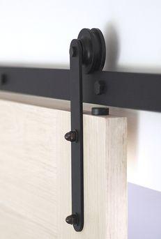 Prop in Black, sliding barn door track, sliding hardware, slide door track, slide door hardware, hanging doors hardware,