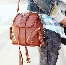 pu 2012Anticline new bohemian twist weave tassels retro shoulder bag satchel fashion pack NS1250(China (Mainland))