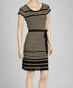 Take a look at this Taupe Zigzag Pointelle Dress by Danny & Nicole on #zulily today!