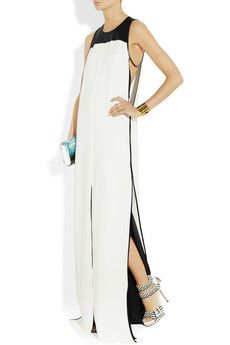 Reed Krakoff Leather-trimmed Silk Maxi Gown