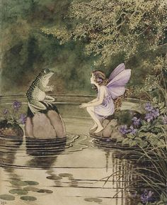Fairy/Frog illustration in The Little Green Road to Fairyland (1922) published by A & C Black, London. Watercolor 21 x 15cm collection unknown@Christies