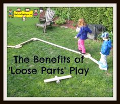 """My children and I discovered the joy of """"Loose Parts"""" earlier this year. This is a fantastic activity if you have school age children with you all day this summer. It also works wonders for young. Outdoor Learning, Outdoor Activities, Activities For Kids, Learning Activities, Outdoor Play Spaces, Outdoor Fun, Outdoor School, Outdoor Games, Natural Playground"""