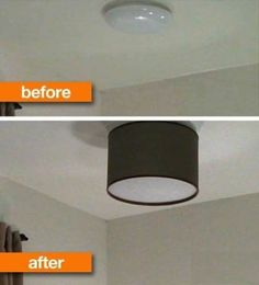 To Make a DIY Drum Shade Improve on what you are given in base housing. Try this DIY tip: place a decorative lampshade over an ugly light.Improve on what you are given in base housing. Try this DIY tip: place a decorative lampshade over an ugly light. Ceiling Fixtures, Light Fixtures, Ceiling Lights, Home Upgrades, Diy Drum Shade, Luminaria Diy, Diy Drums, Diy Luminaire, Custom Shades
