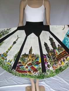 Vintage 50s Hand Painted Mexican Circle Skirt by TimeBombVintage, $120.00