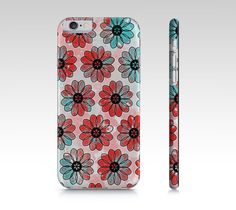 Teal and Red Floral Iphone 6 Case