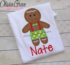 Boys Gingerbread Shirt, Boys Christmas Shirt, Christmas Outfit, Twins Christmas, Winter Embroidered Applique Shirt or Bodysuit by OliviaGraceCouture on Etsy