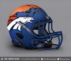 Denver Broncos - NFL Concept Helmet by Paul Bunyan Design Denver Broncos Helmet, Cool Football Helmets, Denver Broncos Football, Broncos Fans, Football Uniforms, Football Gear, Football Memes, Nfl Jerseys, Football Stuff