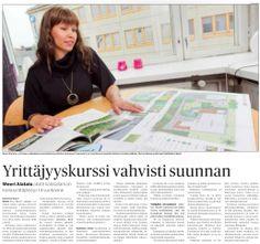 """""""Yrittäjyyskurssi vahvisti suunnan"""" Kaleva 15.10.2012. Juttu yrityksestämme."""